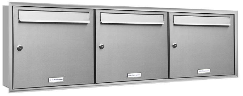 3er 3x1 unterputz briefkasten edelstahl mit blendrahmen stehend. Black Bedroom Furniture Sets. Home Design Ideas