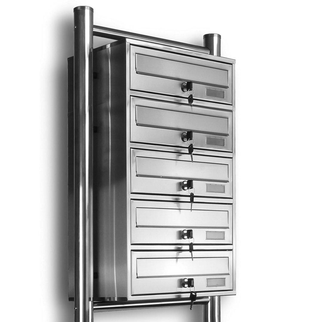 Briefkasten Bilder kelvin 5er briefkasten standanlage edelstahl post liegend neu