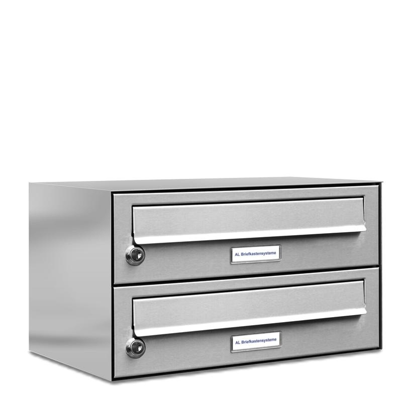2er einbau aufputz briefkasten v2a edelstahl post liegend neu. Black Bedroom Furniture Sets. Home Design Ideas