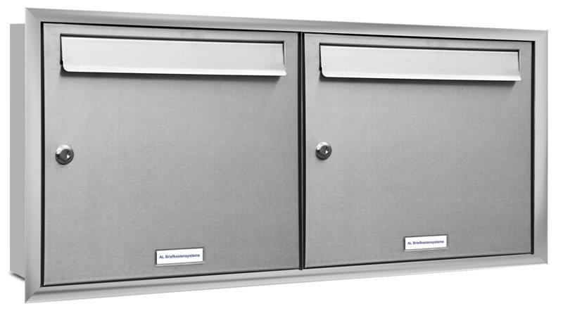 2er 2x1 unterputz briefkasten edelstahl mit blendrahmen. Black Bedroom Furniture Sets. Home Design Ideas